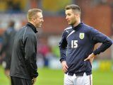 Barnsley's Peter Ramage (left) and Burnley's David Edgar have a chat before the game. They were former team-mates at Newcastle United.