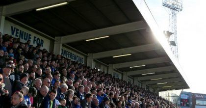 Hartlepool fans during the Sky Bet League Two match at the Northern Gas and power Stadium, Hartlepool.