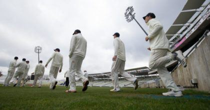 Durham players walk onto the pitch during day one of the MCC University match at Edgbaston, Birmingham.