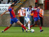 Luke James of Hartlepool United during Vanarama National League match between Dagenham and Redbridge against Hartlepool United at Chigwell Construction Stadium Dagenham Britain on 25 August 2018 (Photo by Action Foto Sport/NurPhoto/Sipa USA)