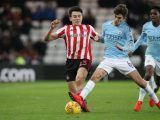 . Luke O'Nien of Sunderland battles with Iker Pozo of Manchester City during the Checkatrade Trophy Quarter Final match between Sunderland and Manchester City Under 23s at the Stadium Of Light in Sunderland, UK on Tuesday, January 22, 2019. (Photo by Mark Fletcher/NurPhoto/Sipa USA)
