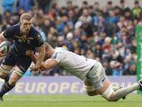 Leinster's Dan Leavy (left) and Saracens' George Kruis during the quarter final of the European Champions Cup match at The Aviva Stadium, Dublin.
