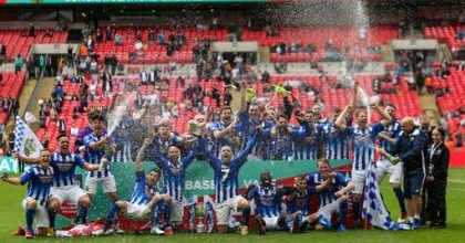 Chertsey Town celebrate with the FA Vase
