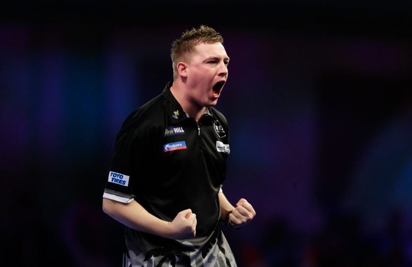 Chris Dobey in action at 2019 Players Championship Finals – SportsByte